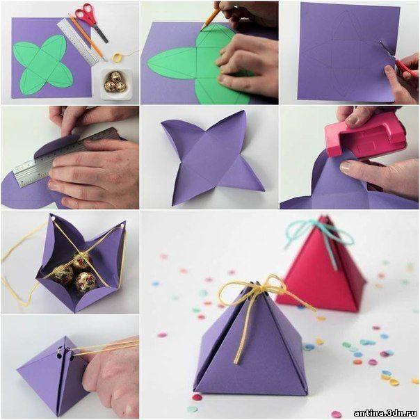 Как сделать маленькую коробочку из бумаги с подарками